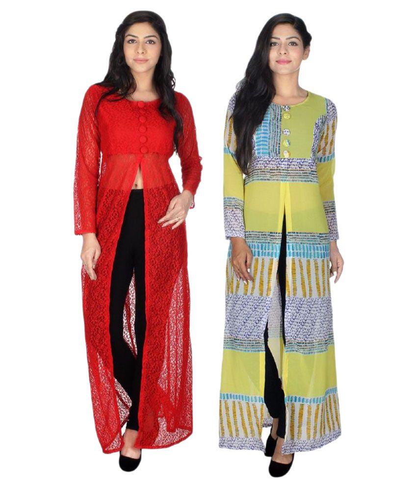 Khushi Fashions Multicoloured Net Straight Kurti