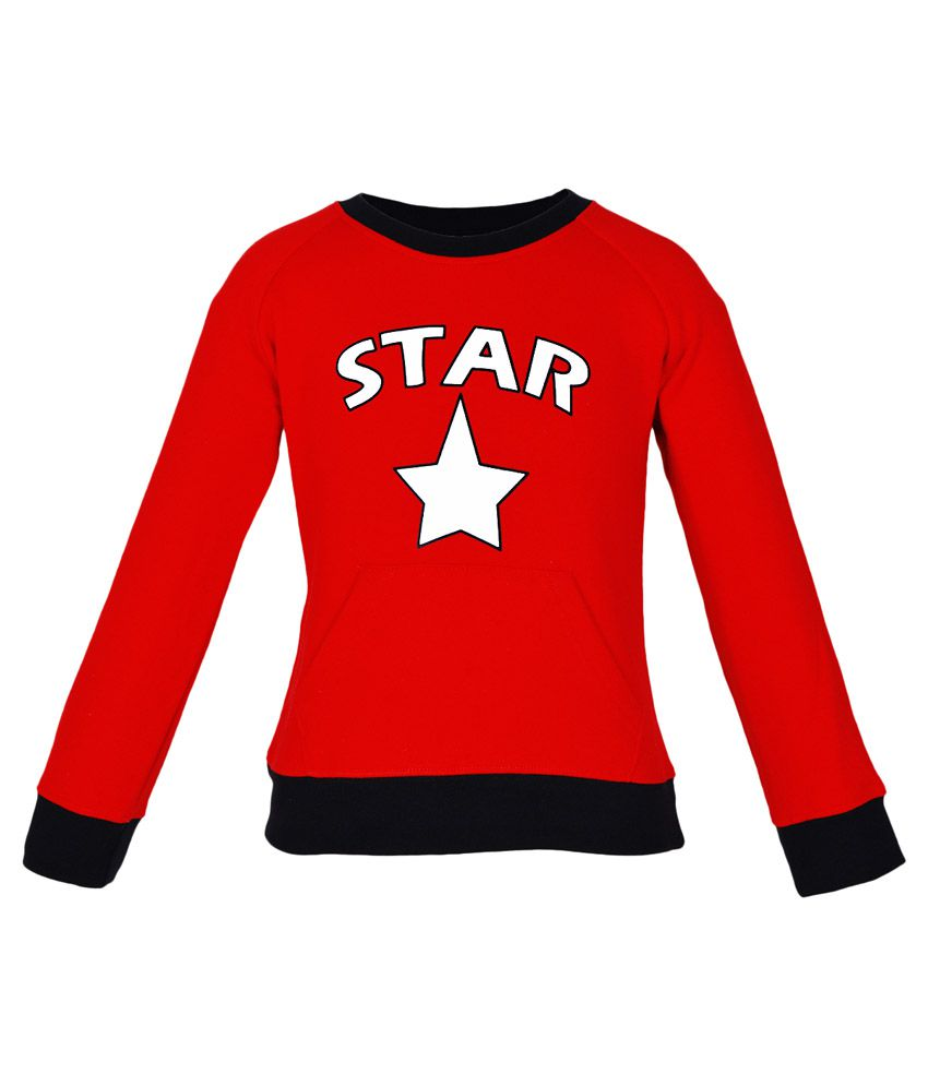 Gkidz Red Fleece Full Sleeve Sweatshirt