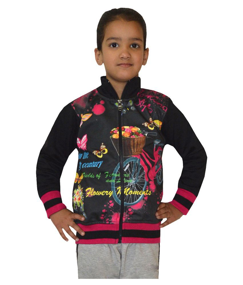 Shaun Black Front Open Girls Sweatshirt