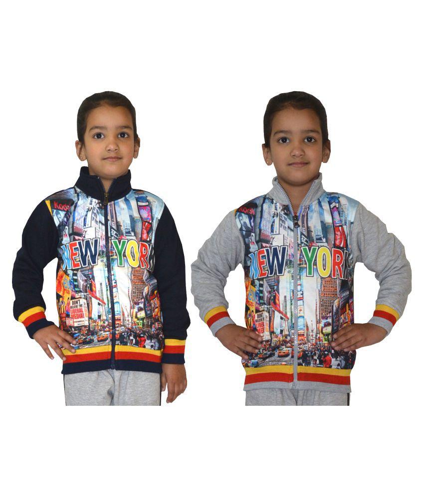 Shaun Multicolour Front Open Girls Sweatshirts - Pack of 2