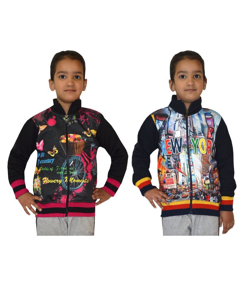 Shaun Multicoloured Front Open Girls Sweatshirts- Pack of 2