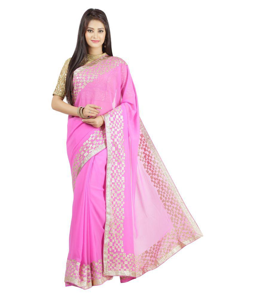 Jashn Pink Georgette Saree