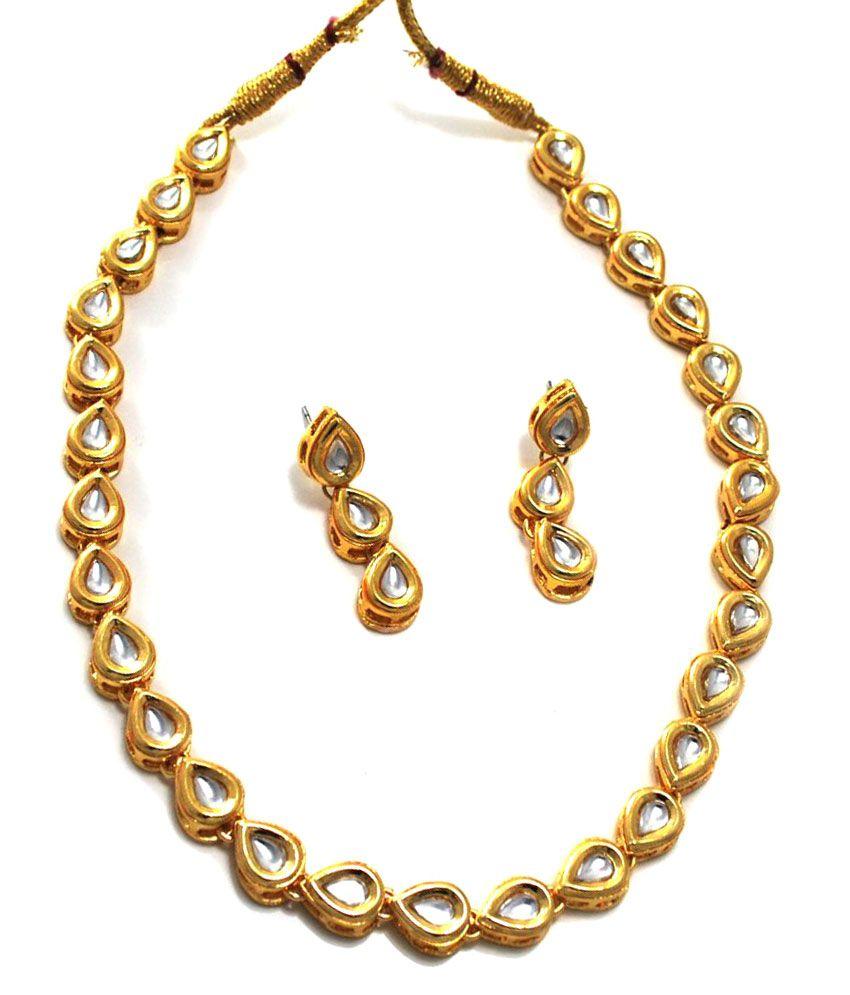 Twishq Single Line High Quality Kundan Necklaces Jewellery