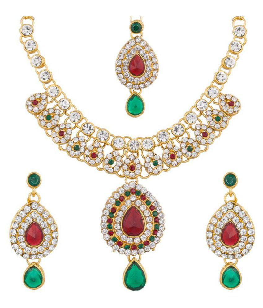 The Luxor Multicolored Gold Plated Kundan, Australian Diamond & Pearl Studded Traditional Necklace Set NK-1963