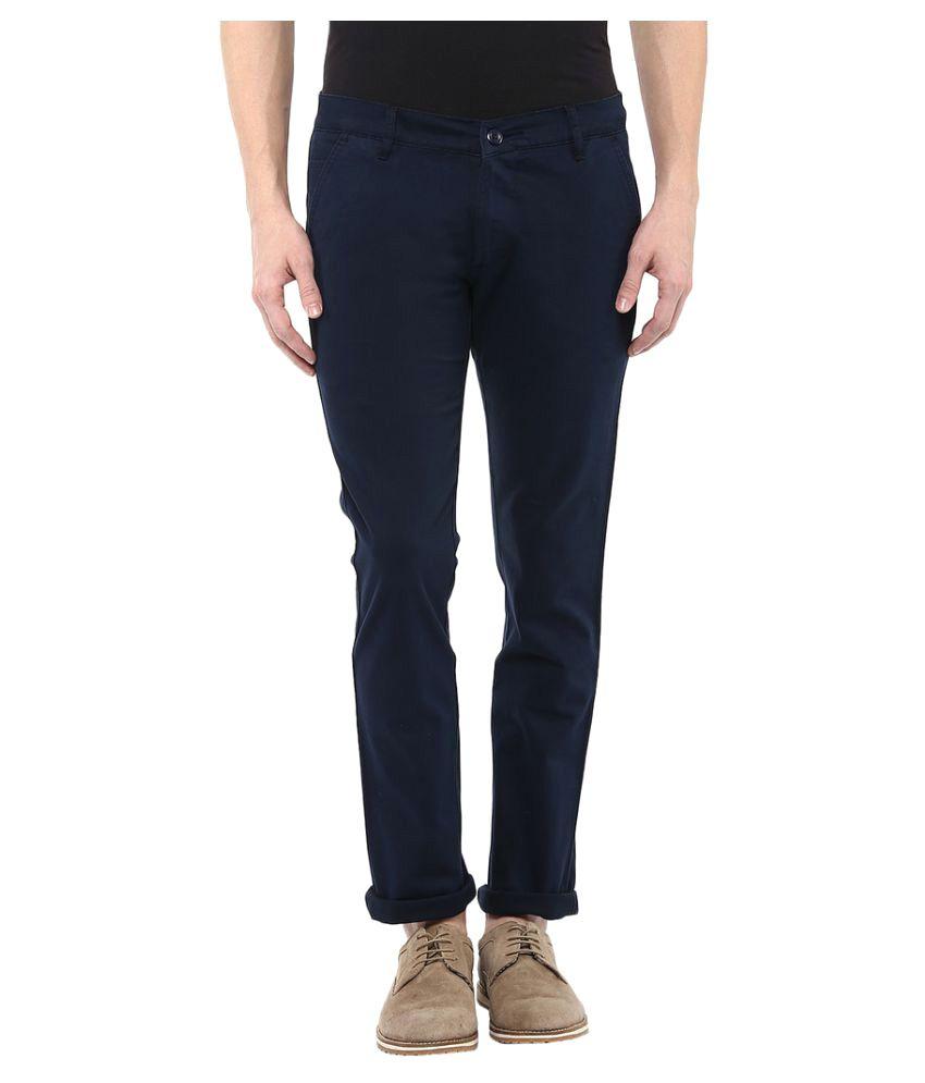 Bukkl Navy Blue Slim -Fit Flat Chinos