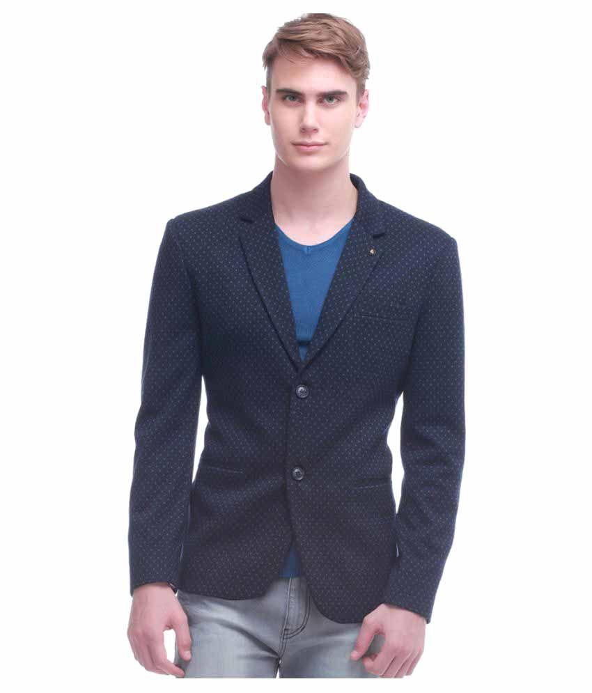Jogur Blue Printed Casual Blazers