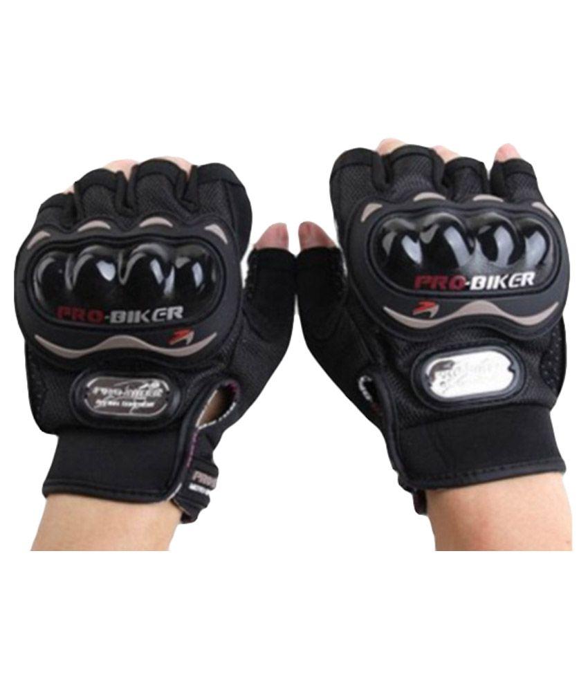 Pro Biker Half Cut Finger Bicycle Gloves - Black