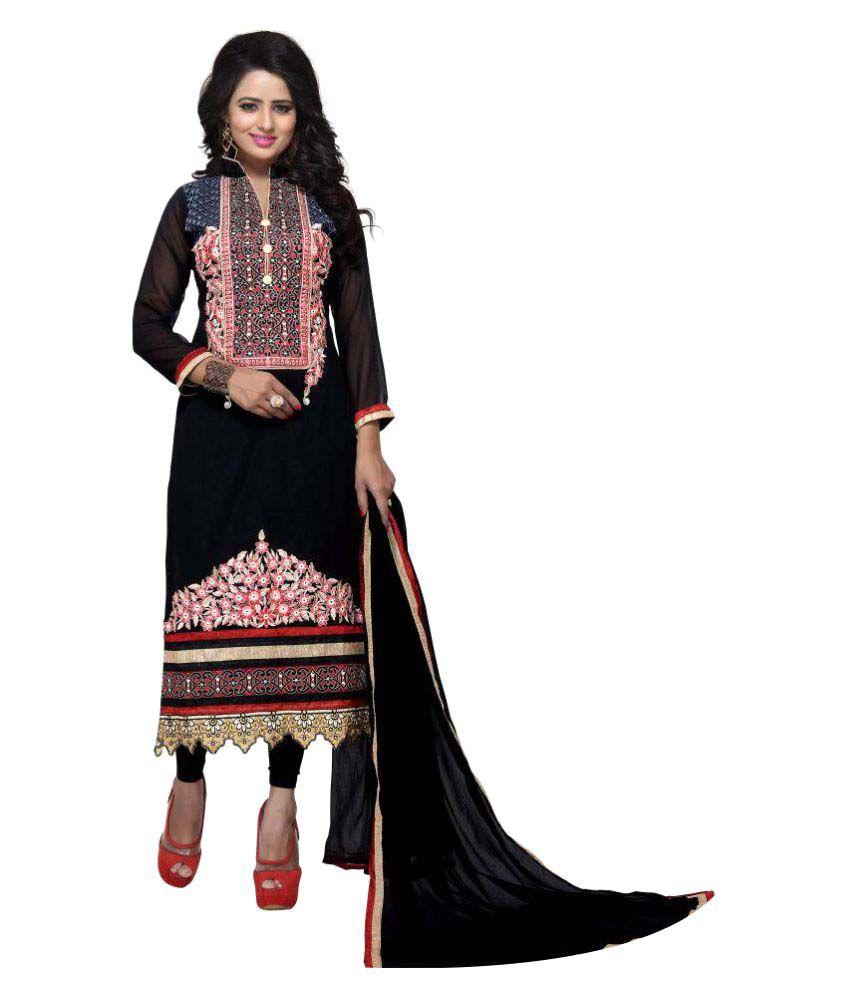 Alina Creation Black Georgette Pakistani Stitched Suit