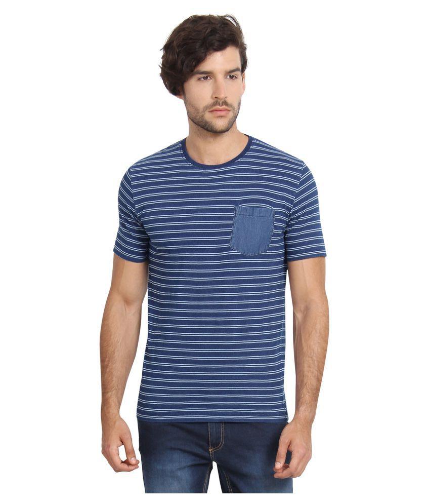 Slub Blue Round T-Shirt