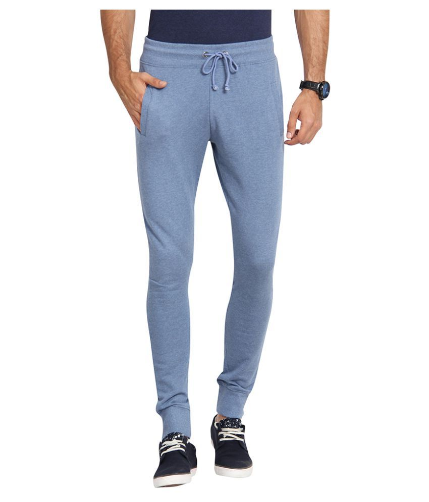 Slub Blue Regular Flat Trouser