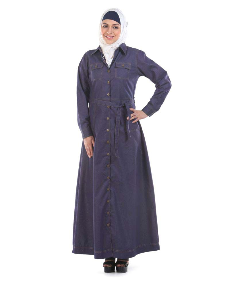 Momin Libas Blue Cotton Stitched Burqas without Hijab