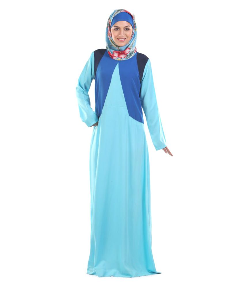 Momin Libas Blue Polyester Stitched Burqas without Hijab