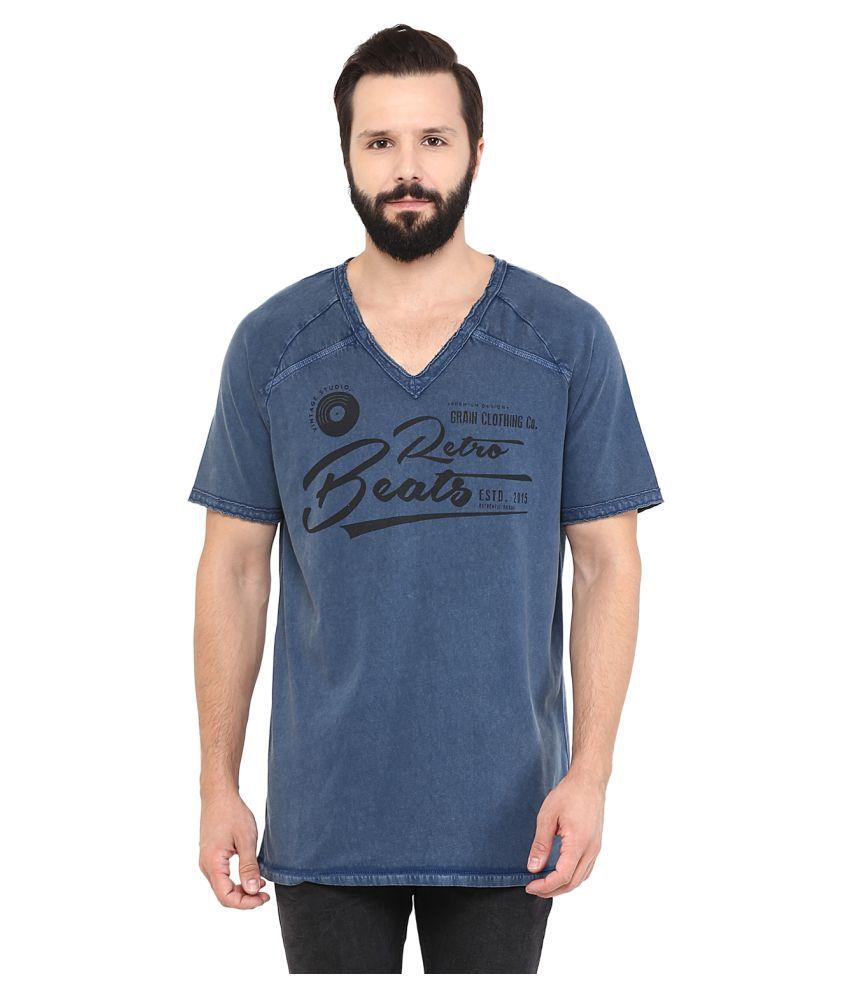 Grain Blue V-Neck T-Shirt