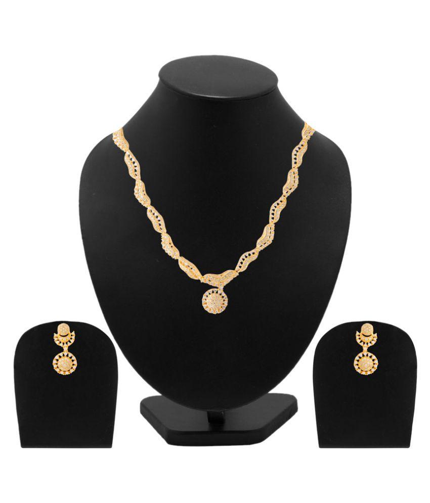 Voylla Golden Brass Necklaces Set