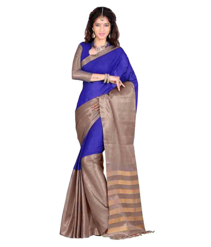 Sanju Sarees Blue Cotton Poly Saree