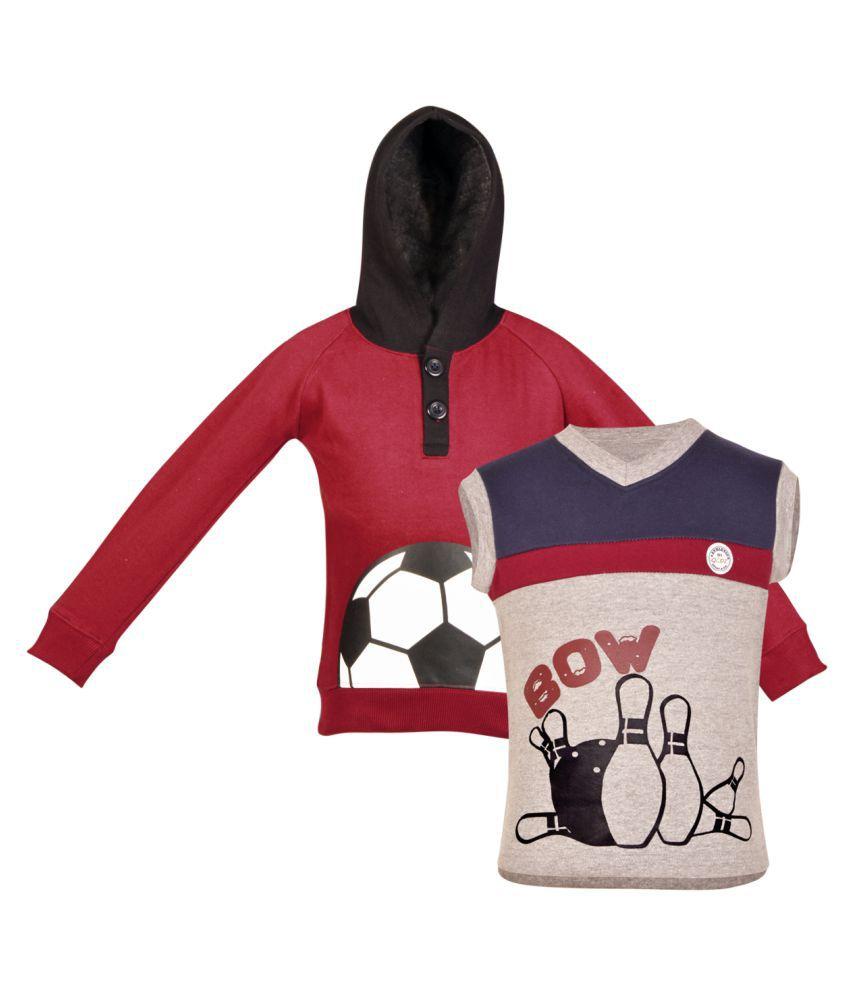Gkidz Multicolour Fleece Sweatshirt - Pack of 2