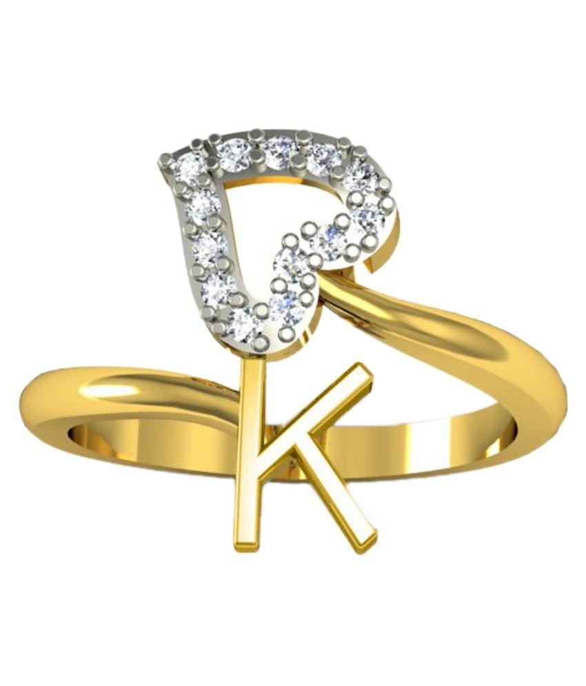 Jewelscart Alphabet K Heart Shape Valentine Gift Gold Plated Letter Ring ...