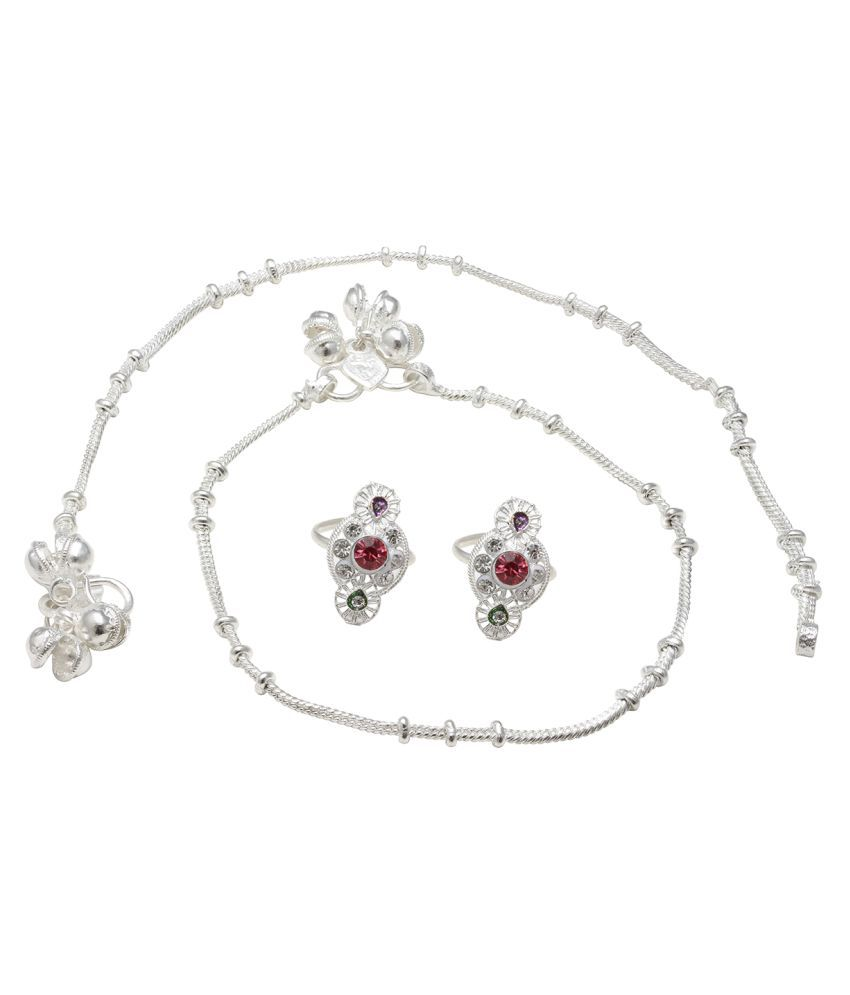Memoir Silver plated Thin string ghungroo Anklet & Red Toering Combo set for Women
