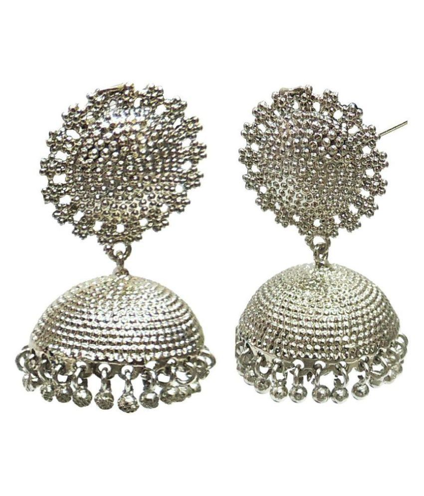 Satyam Jewellery NX Antiue Party Wear Silver Jhumkis for Women