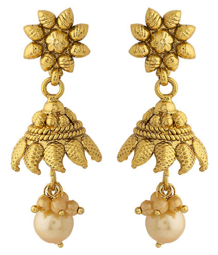 Voylla Pair Of Leafy Jhumki Earrings