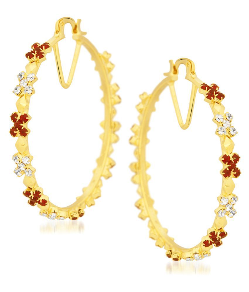 Vk Jewels Red And White Ston Big Bali Earrings For Women Girls