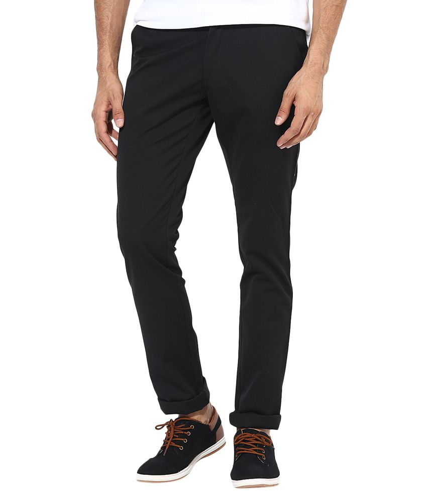 BUKKL Black Slim Chinos Trouser