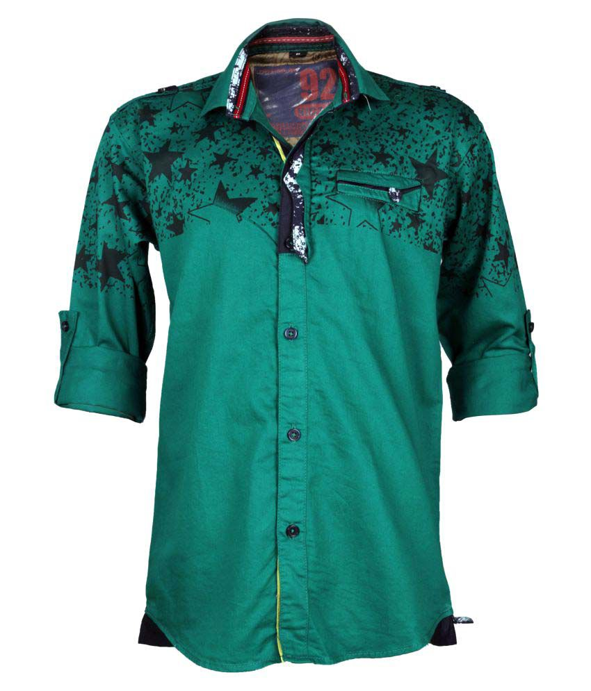 Kidzee Green Colored Cool Designer Cotton Shirt With Beautiful Star