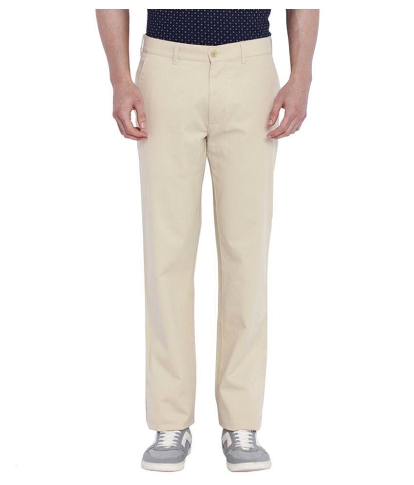 Colorplus Beige Regular Flat Trouser