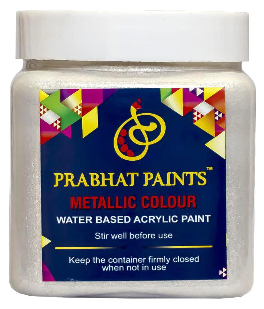 Prabhat Paints Acrylic Metallic Colour / Pearl Colour (500gm, Glitter Silver) (Water based paint)