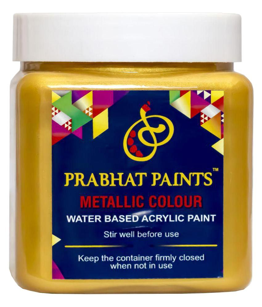 Prabhat Paints Acrylic Metallic Colour / Pearl Colour (500gm , Gold) (Water based paint)