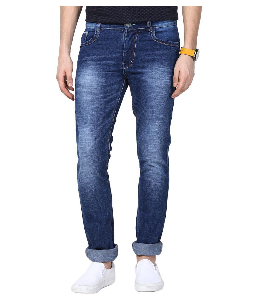 11cent Dark Blue Slim Faded Jeans