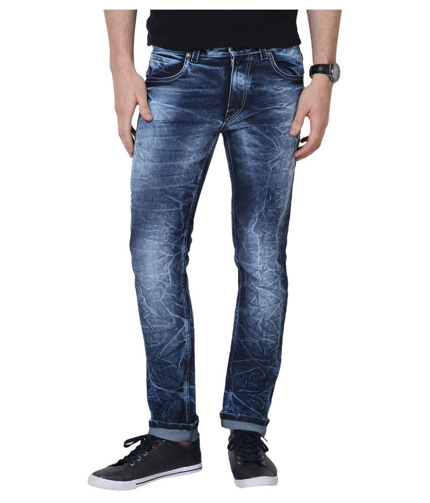 11cent Dark Blue Slim Washed Jeans