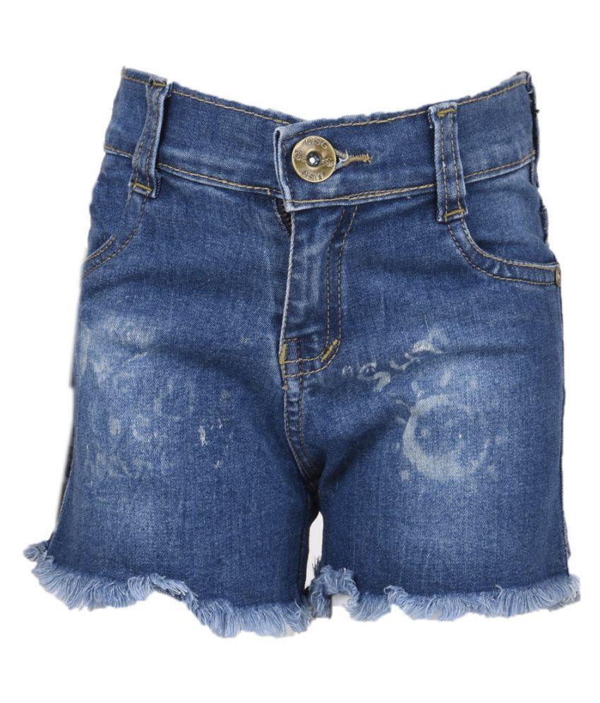 MSG Blue Cotton Blend Hot Pants