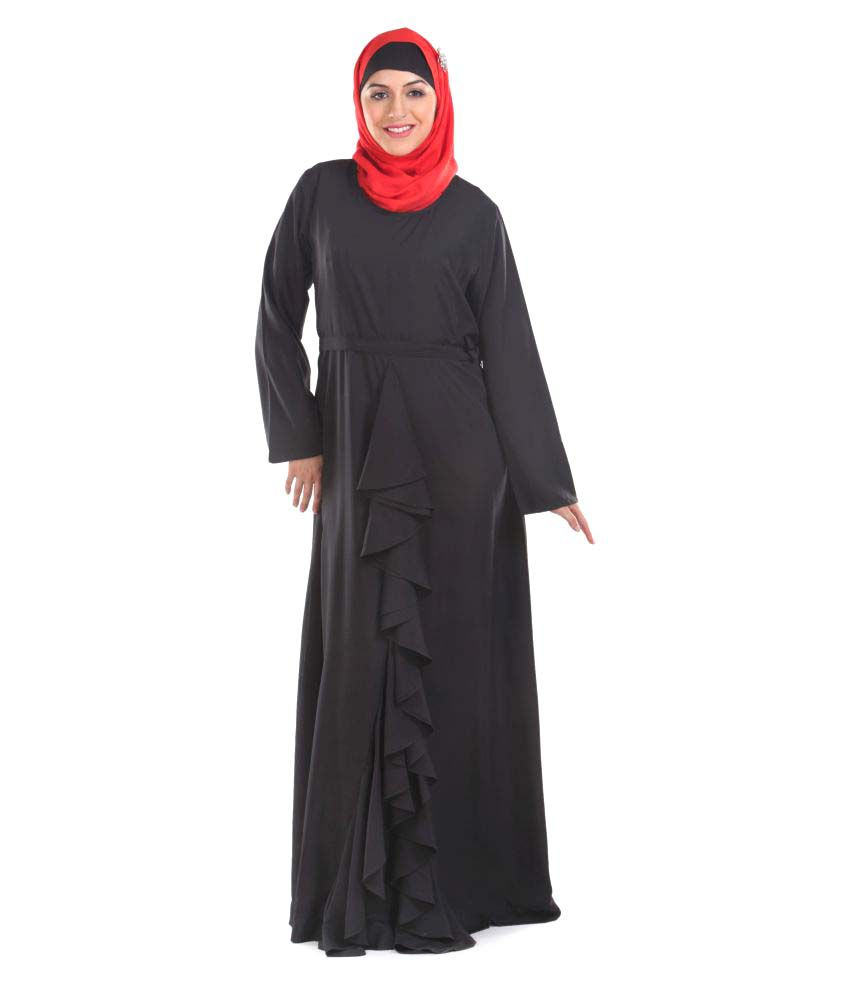 Momin Libas Black Polyester Stitched Burqas without Hijab