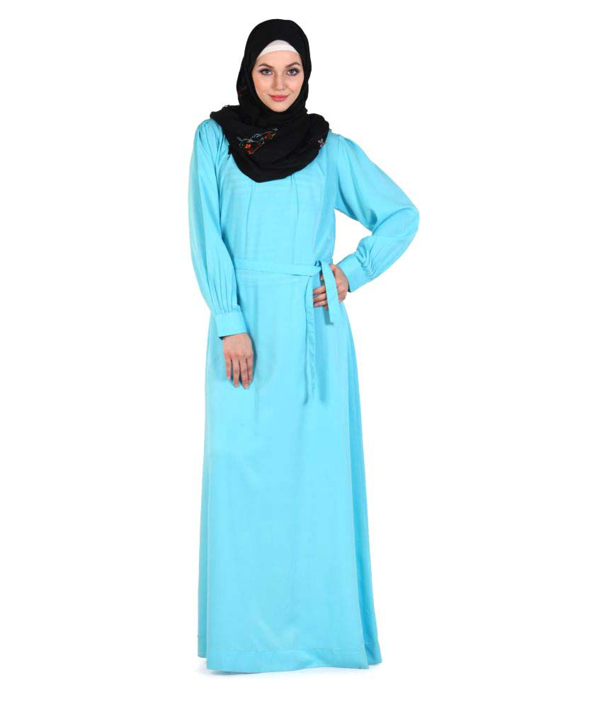 Momin Libas Turquoise Polyester Stitched Burqas without Hijab