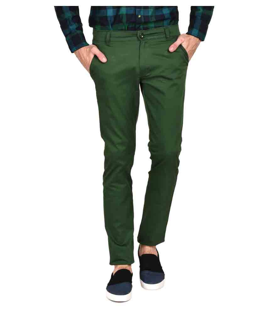 Ruace Light Green Slim Flat Trousers