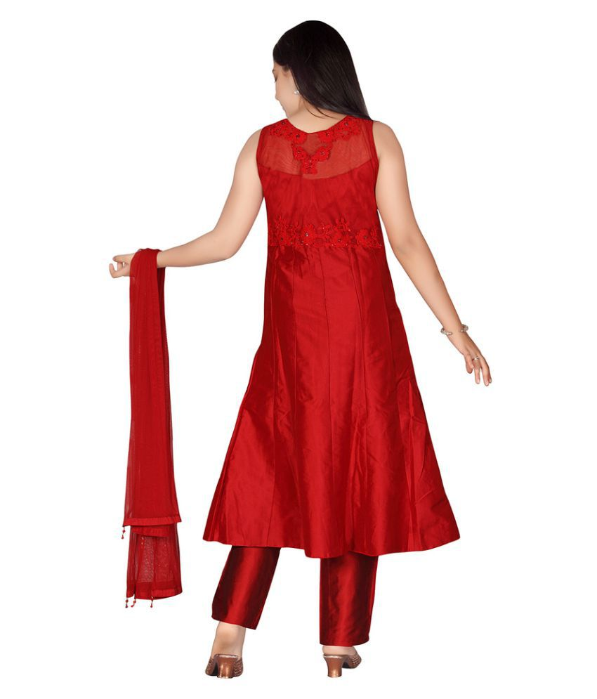 293558a61 Jazzup Red Silk Embroidered Churidar Suit For Girls - Buy Jazzup Red ...