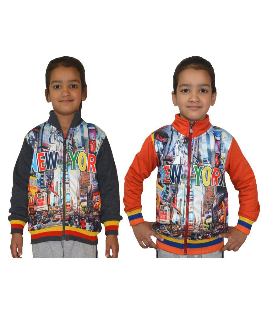 Shaun Multi colour Front Open Girl's Sweatshirt