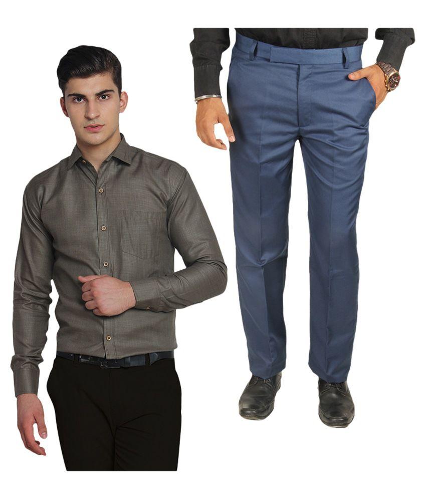 Van Galis Blue Regular Flat Trouser with Shirt
