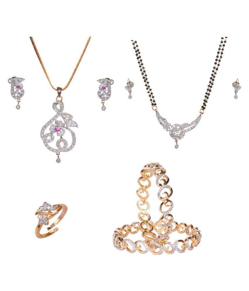 Manikya Golden Necklace Set Combo