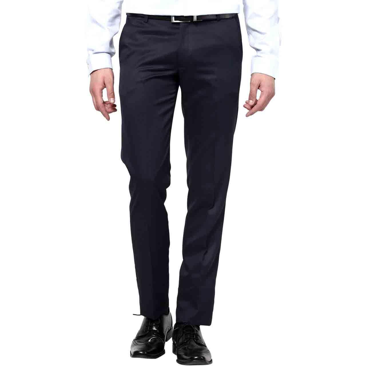 Renzo Black Regular Flat Trouser