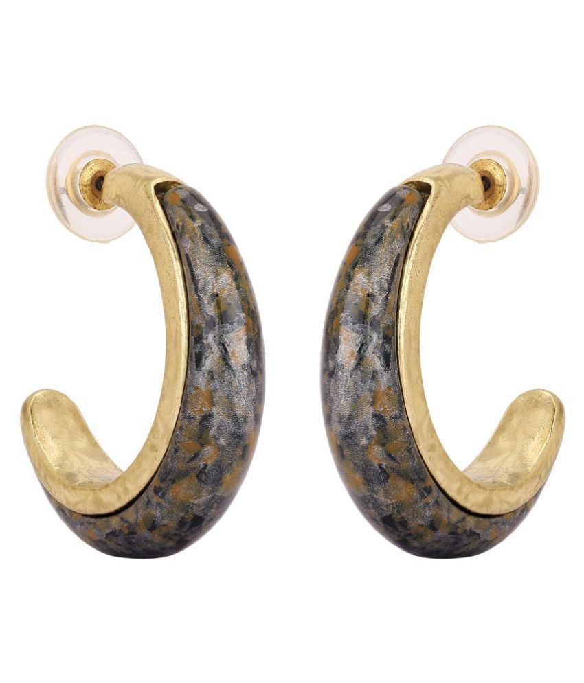 Adwitiya Imported Golden-Black Coloured Designed Beautiful Trendy Fashion Hoop For Womens