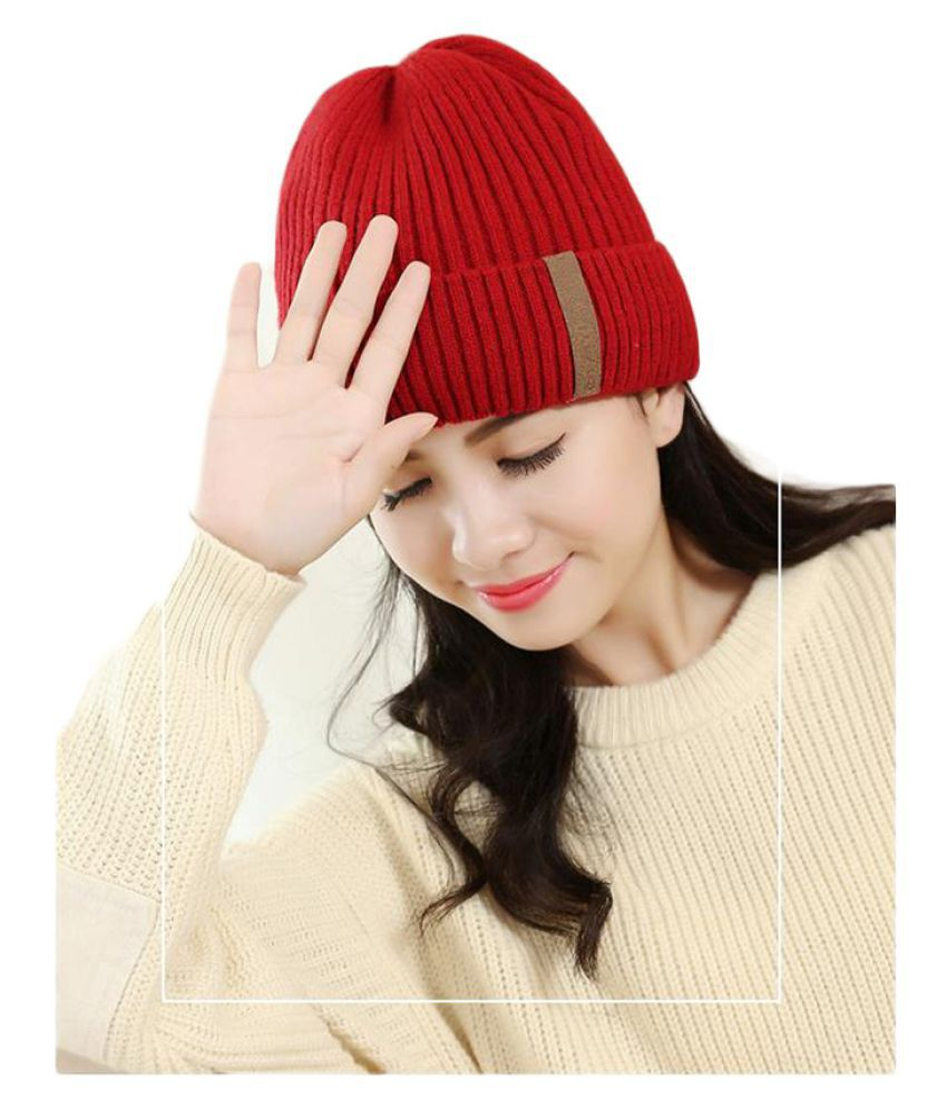 05383e4781eee Isweven Red Cap For Girls  Buy Online at Low Price in India - Snapdeal