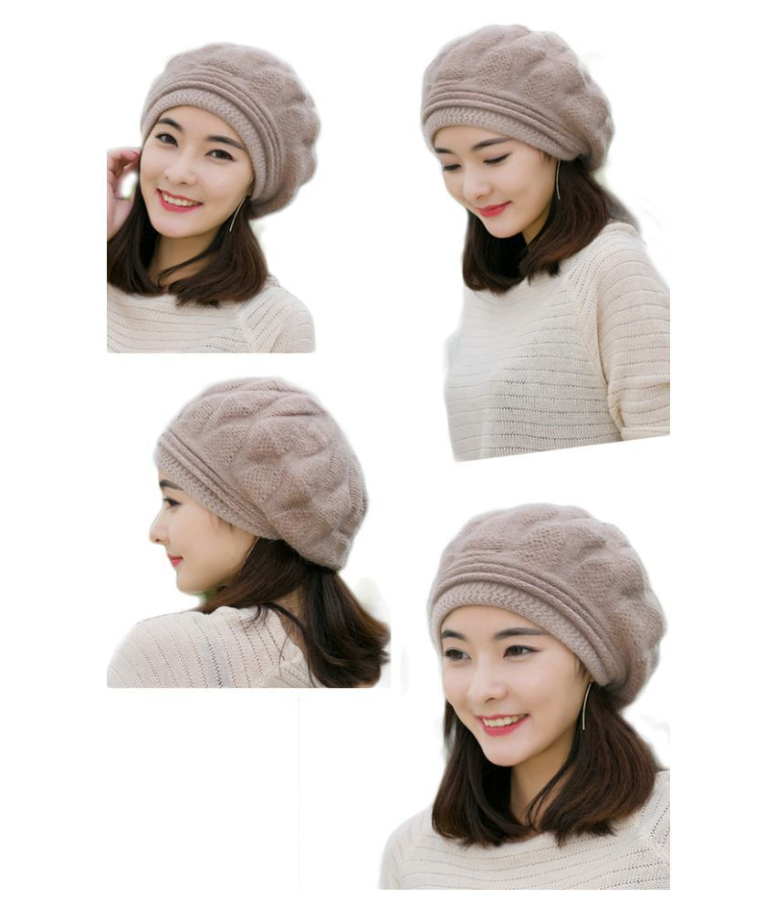8e25ec364 iSweven Beige Winter Beanie Cap for Girls: Buy Online at Low Price ...