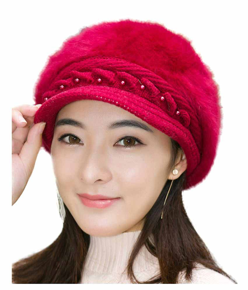 iSweven Maroon Winter Beanie Cap for Girls  Buy Online at Low Price in India  - Snapdeal 98a7878469b
