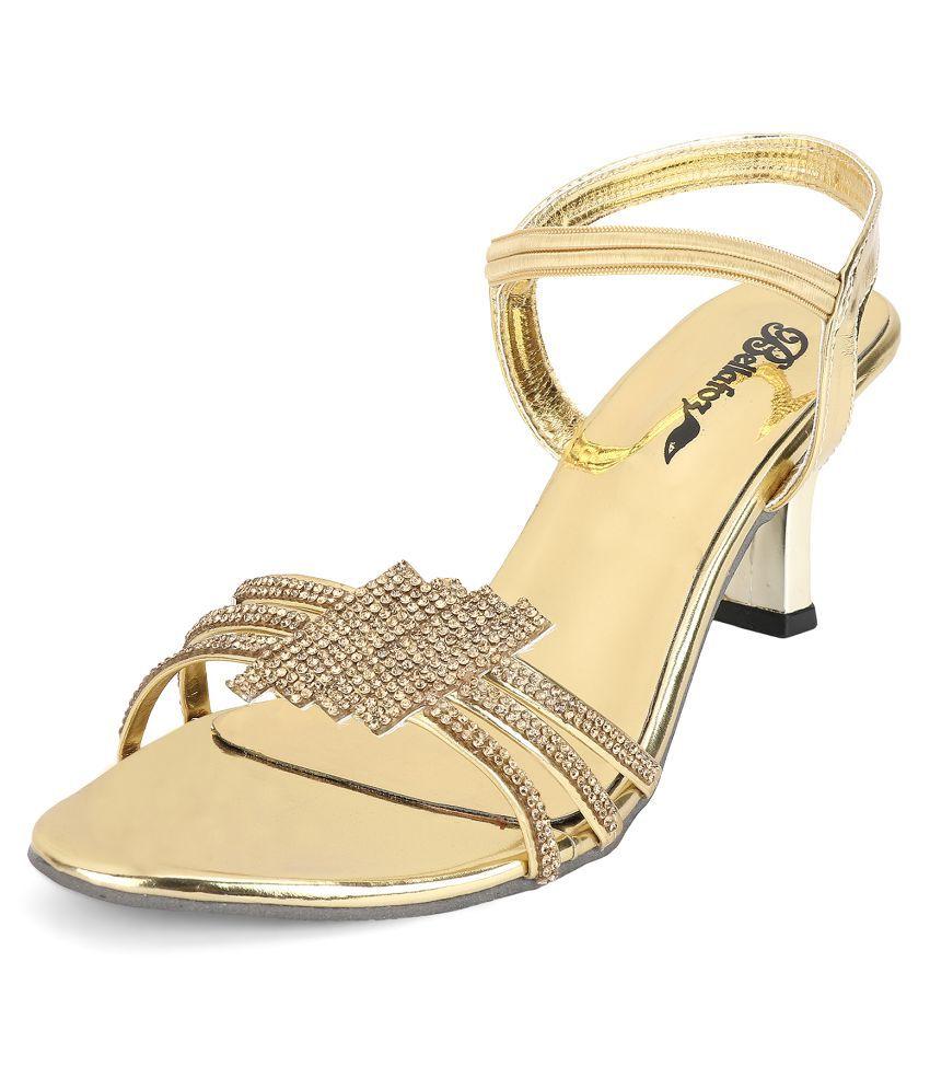 Bellafoz Gold Kitten Heels