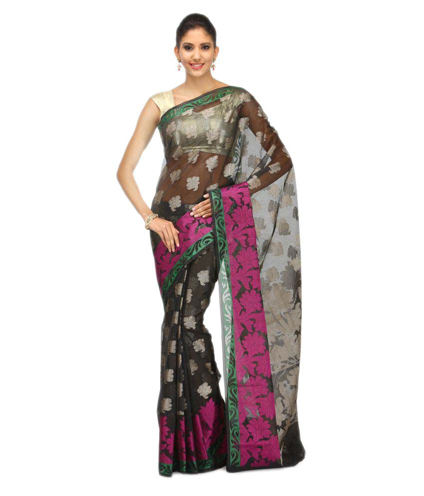 Bunkar Black Cotton Blend Saree