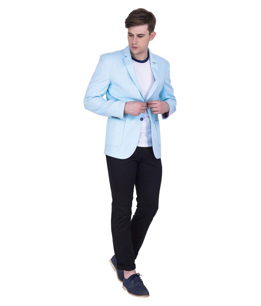 Quontico Blue Solid Casual Blazers