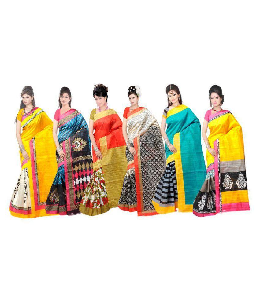 Sharda Creation Multicoloured Bhagalpuri Silk Saree Combos
