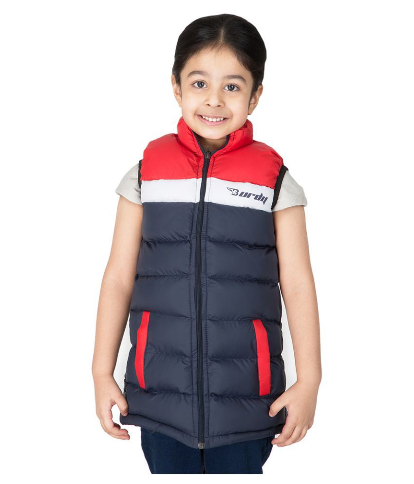 Burdy Sleeveless Hooded Regular Fit Polyester Solid Bomber Jacket for Girl's (5-6) Years